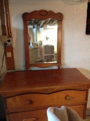 Lot 007 Maple Wood Mirror, 65 Plus Years Old, Mirror Showing Some Age, 29x20.5, Good Condition