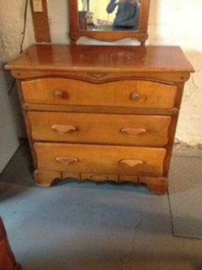 Lot 006 3 Draw Maple Wood Dresser, 65 Plus Years Old, 38x18x35, Good Condition