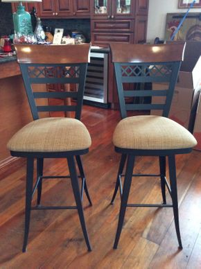 Lot 030 Lot of 2 Metal and Wood Bar Stools ITEM CAN BE PICKED UP IN ATLANTIC BEACH