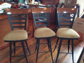 Lot 032 Lot of 3 Metal and Wood Bar Stools  ITEM CAN BE PICKED UP IN ATLANTIC BEACH