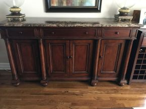 Lot 034 Thomasville Sideboard With Marble Top And Three Drawers. Approx 40.25H X 20.5W X 72.5L. PICK UP IN HUNTINGTON
