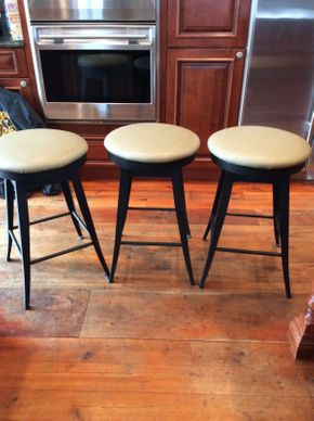 Lot 033 Lot of 3 Metal Bar Stools with Vinyl Seat Tops  ITEM CAN BE PICKED UP IN ATLANTIC BEACH