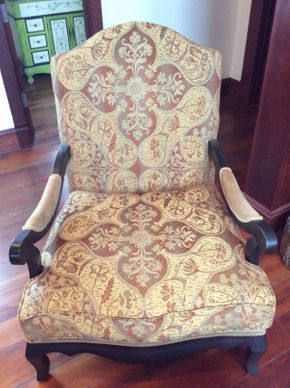 Lot 035 Fabric and Wood Chair  ITEM CAN BE PICKED UP IN ATLANTIC BEACH