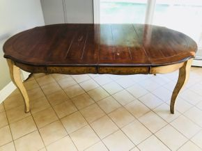 Lot 035 Country French Wood Kitchen Table. AS IS With Scratches. Approx 31H X 47.5W X 83L. PICK UP IN HUNTINGTON.