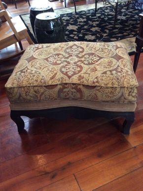 Lot 034 Fabric and Wood Ottoman ITEM CAN BE PICKED UP IN ATLANTIC BEACH