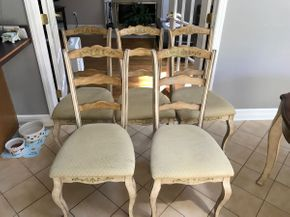 Lot 036 Lot Of Five Fabric Chairs. AS IS. Some Stains. Approx 40.5H X 19W X 19L. PICK UP IN HUNTINGTON