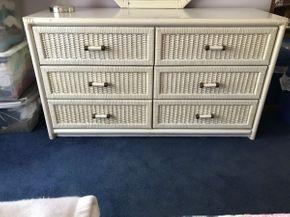 Lot 051 Wicker Six Drawer Dresser. 29H X 18W X 52 L. PICK UP IN HUNTINGTON.