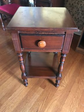 Lot 021 Vintage Mahogany Night Stand AS IS some scratches  27.5H x 15W x 16L PICK UP IN EAST MEADOW