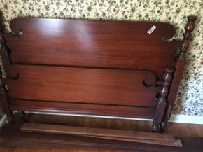Lot 020 Vintage Mahogany Full Site Head and Foot Board with rails 43.5 Inches tall PICK UP IN EAST MEADOW