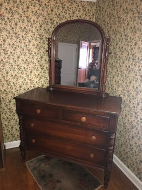 Lot 019 Vintage Mahogany 4 Drawer dresser with Mirror 36H no mirror 70H with mirror 20.5W x 46.5L PICK UP IN EAST MEADOW