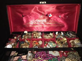 Lot 022 Large Lot Of Costume Jewelry with Jewelry Box PICK UP IN EAST MEADOW