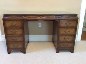 Lot 066 Dovetailed Wood Vanity With Glass Top ITEM CAN BE PICKED UP IN ROCKVILLE CENTRE
