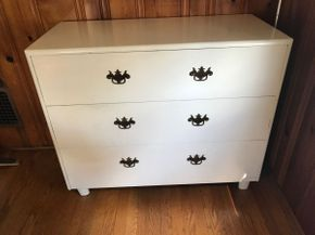 Lot 031 Painted Solid Mahogany 3 Drawer Dresser 34.5H x 18w x 40L PICK UP IN EAST MEADOW