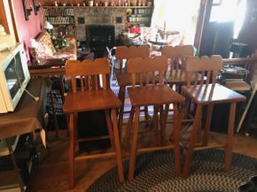 Lot 026 Lot Of 5 Pine Bar Stools CIRCA 1956 AS IS 39H x 13.5W x 16.5L PICK UP IN EAST MEADOW