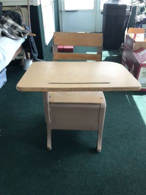 Lot 032 Vintage School desk AS IS some water Damage Formica Top 27.5H x 27W x 20L PICK UP IN EAST MEADOW