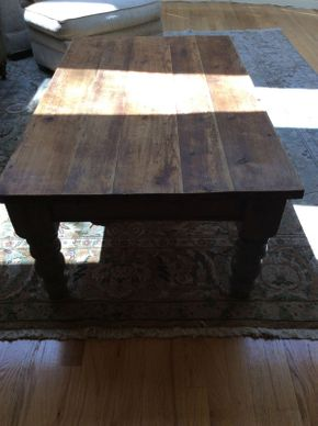 Lot 018 Distressed Wood Coffee Table Sharp Aquos TV   ITEM CAN BE PICKED UP IN ROCKVILLE CENTRE