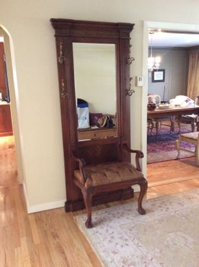 Lot 006 Mahogany Mirrored Hall Tree With Leather Seat    ITEM CAN BE PICKED UP IN ROCKVILLE CENTRE