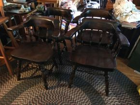 Lot 036 Lot of 4 Vintage Pine Captains Chairs some scratches AS IS 30H x 17.5W x 25.5L PICK UP IN EAST MEADOW