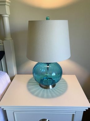 Lot 046 Pair of Glass Lamps 23 Inches Tall PICK UP IN ROCKVILLE CENTRE