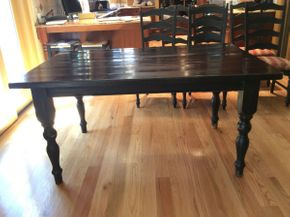 Lot 013 Painted Pine Wood turned legged Table  ITEM CAN BE PICKED UP IN ROCKVILLE CENTRE