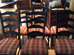 Lot 014 Lot of 6 Painted ladder back Wood Chairs with Upholstered Seats ITEM CAN BE PICKED UP IN ROCKVILLE CENTRE