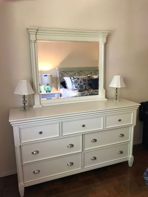 Lot 041 Raymour and Flanigan Magnussen Collection 7 Drawer Dresser With Mirror 37H without mirror 18W x 38L 75H with mirror PICK UP IN ROCKVILLE CENTRE