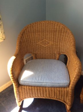 Lot 027 Wicker Rocking Chair With Cushion  ITEM CAN BE PICKED UP IN ROCKVILLE CENTRE