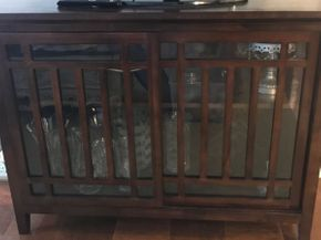 Lot 067 Wood Entertainment Cabinet With Sliding Doors 3ftH x 18W x 4ft L PICK UP IN ROCKVILLE CENTRE