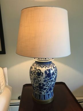 Lot 056 Pair Of Blue and White Decorative Table Lamps with Shades 31 Inches Tall PICK UP IN ROCKVILLE CENTRE
