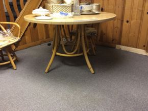 Lot 035 48 Inch Round Bamboo Like Pedestal Table   ITEM CAN BE PICKED UP IN ROCKVILLE CENTRE