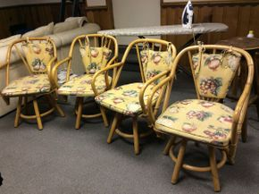 Lot 036 Lot of 4 Swivel Bamboo Like Chairs With Cushions   ITEM CAN BE PICKED UP IN ROCKVILLE CENTRE