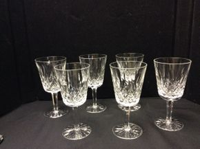 Lot 037 Lot of 6 Waterford Lismore Water Glasses  ITEM CAN BE PICKED UP IN ROCKVILLE CENTRE
