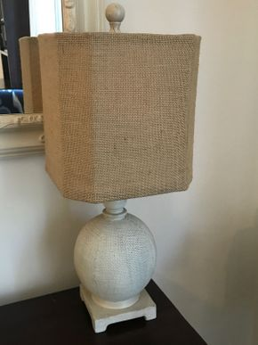Lot 062 Decorative Table Lamp with Linen Shade 22 Inches Tall PICK UP IN ROCKVILLE CENTRE