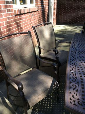 Lot 044 Lot of 6 Wrought Iron Outdoor Arm Chairs  ITEM CAN BE PICKED UP IN ROCKVILLE CENTRE