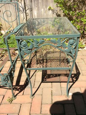 Lot 047 Wrought Iron Green Glass Top End Table ITEM CAN BE PICKED UP IN ROCKVILLE CENTRE