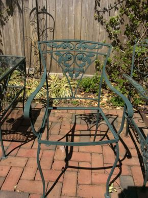 Lot 045 Wrought Iron Green Arm Chair No Seat  ITEM CAN BE PICKED UP IN ROCKVILLE CENTRE