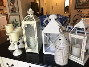 Lot 077 Lot Of Lanterns and Candle Stick Holders Various Sizes PICK UP IN ROCKVILLE CENTRE
