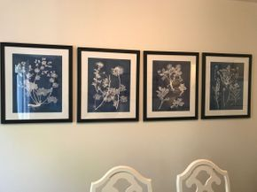 Lot 075 Lot Of 4 Decorative Floral Negative Prints 27x 22.5 PICK UP IN ROCKVILLE CENTRE