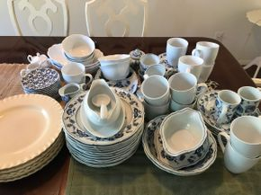 Lot 074 Large Set Of Blue and White Everyday Dishes and Cups PICK UP IN ROCKVILLE CENTRE
