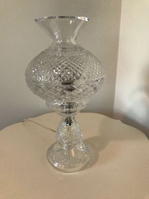 Lot 052 Waterford-Like  Hurricane Lamp 14 Inches Tall PICK UP IN ROCKVILLE CENTRE