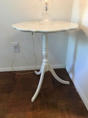 Lot 051 Scalloped Painted Wood Pedestal Side Table 26H x 23 Diameter PICK UP IN ROCKVILLE CENTRE