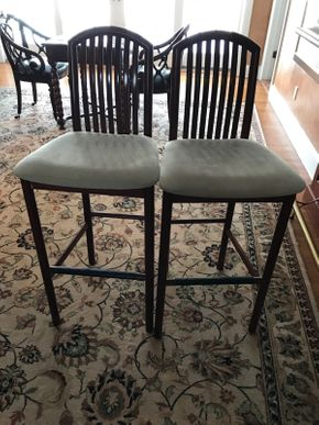Lot 075 Wood and Leather Bar Stools 44in Tall  ITEMS TO BE PICKED UP IN EAST HILLS