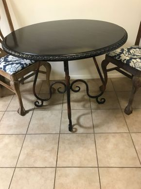 Lot 071 Round Metal and Wood Table 31H x 37 Inches in Diameter PICK UP IN ROCKVILLE CENTRE