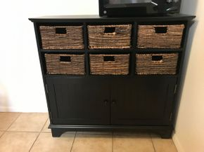 Lot 082 Decorative Cabinet with Removable Baskets 3ftT x 12W x 28L PICK UP IN ROCKVILLE CENTRE