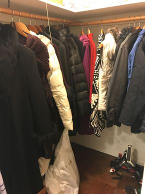 Lot 091 Lot Of the Entire Contents of Coat Closet Leather Jackets and Coats, Ice Skates, Hand Weights, Holiday Ornaments, Wool Dress Coat, Tools, Umbrellas PICK UP IN ROCKVILLE CENTRE