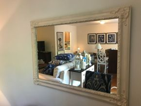 Lot 098 White Decorative Mirror 42x 32 PICK UP IN ROCKVILLE CENTRE