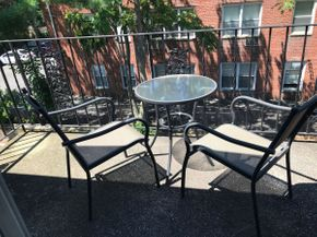 Lot 100 Bistro Set Table and 2 Chairs Table 27 Inches TAll Chairs 34 Inches Tall PICK UP IN ROCKVILLE CENTRE