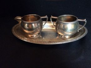 Lot 043 Fischer Sterling Cream and Sugar Set  ITEM CAN BE PICKED UP IN GARDEN CITY