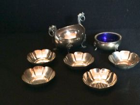 Lot 045 Lot of Sterling Salt Bowls ITEM CAN BE PICKED UP IN GARDEN CITY