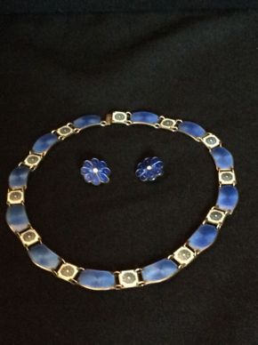Lot 094 Mid Century David Anderson Sterling and Enamel Choker and Clip On Earrings  ITEM CAN BE PICKED UP IN GARDEN CITY